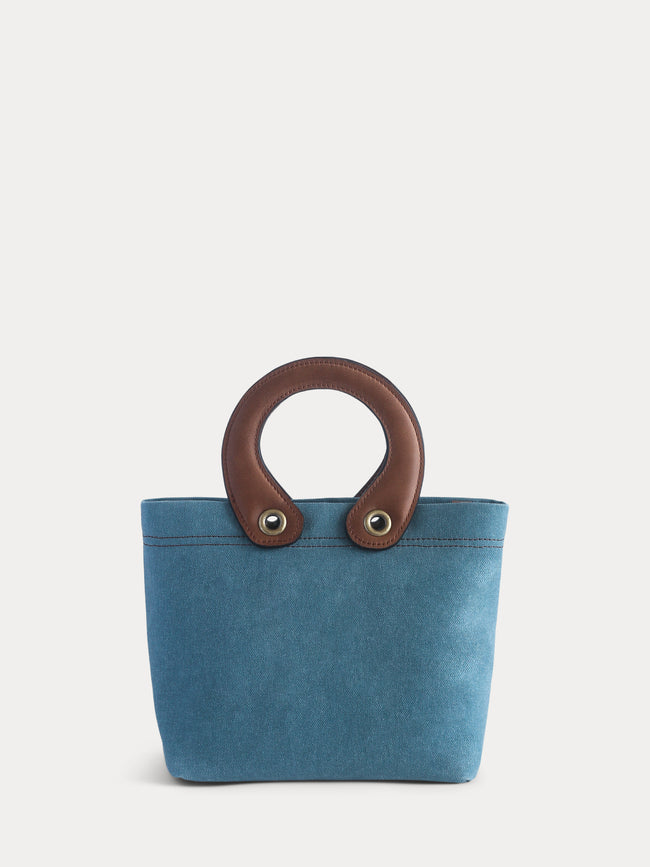 blue canvas mini tote bag