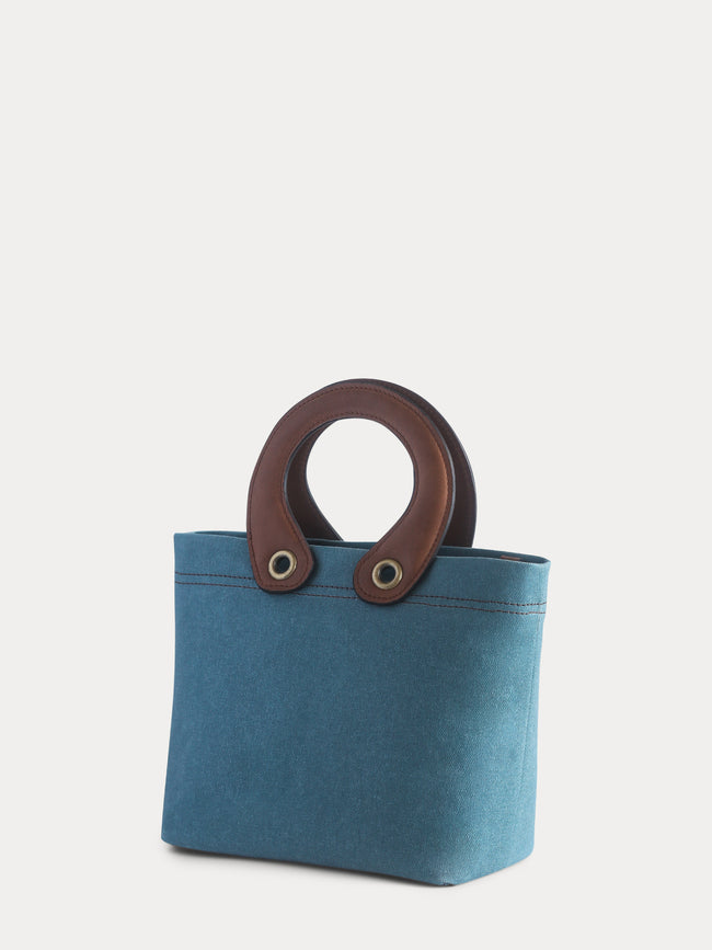 blue canvas mini tote