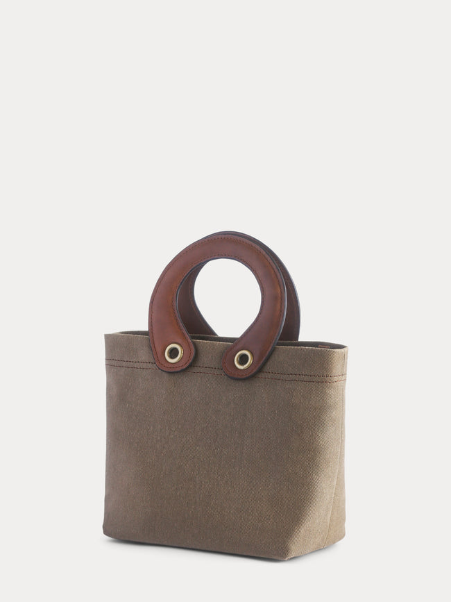 brown canvas mini tote