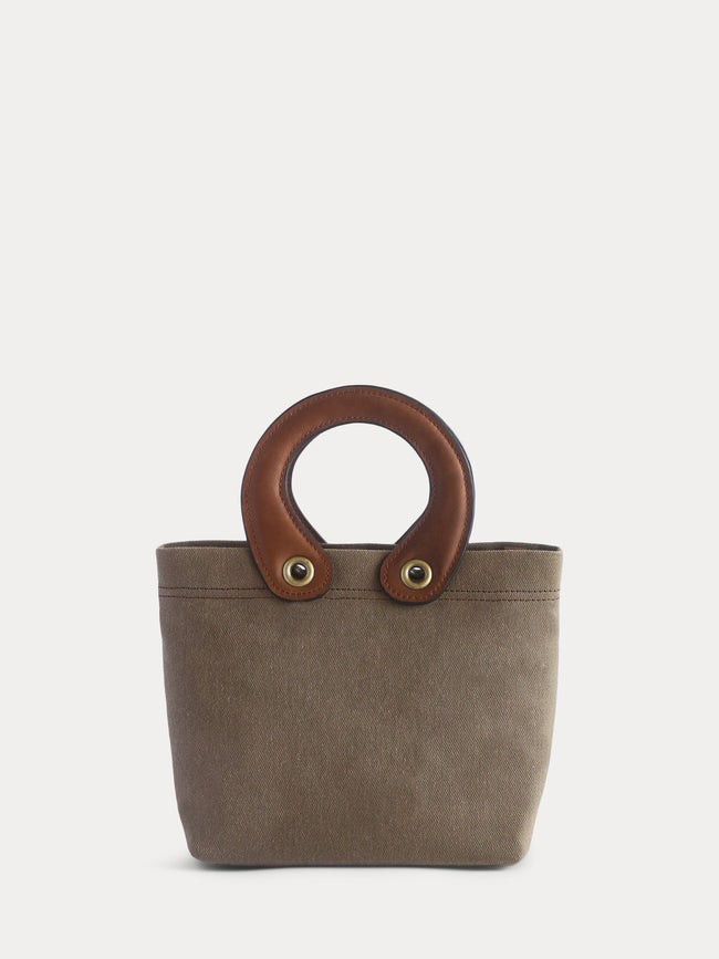 brown canvas mini tote bag