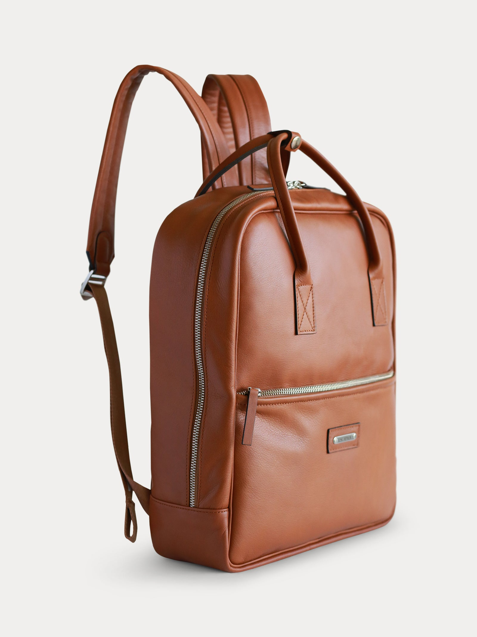 handcrafted brown italian designer leather backpack for men
