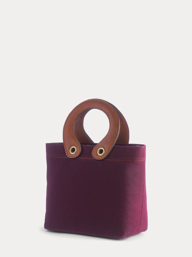 burgundy canvas mini tote