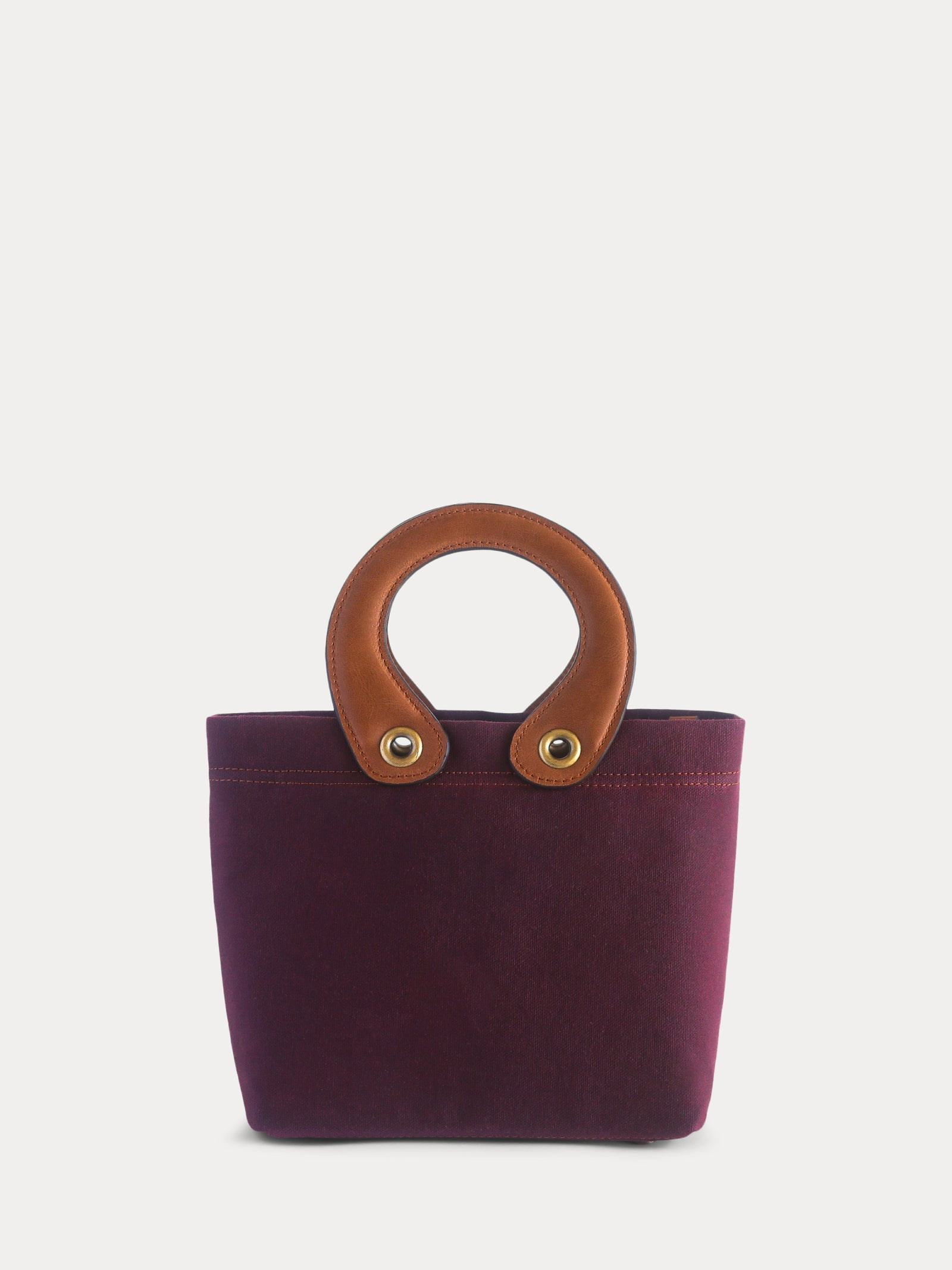 burgundy canvas mini tote bag