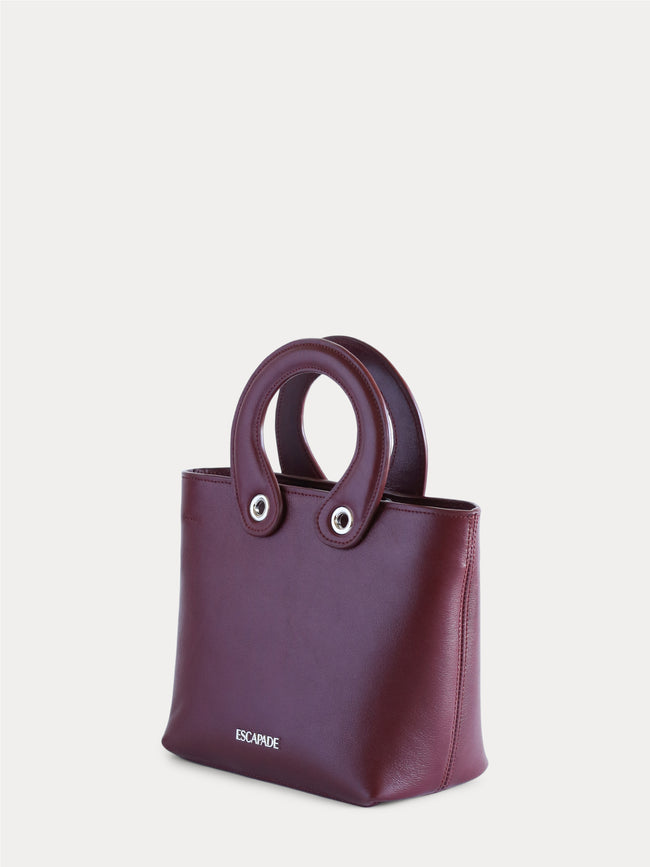 handmade burgundy leather bag for woman