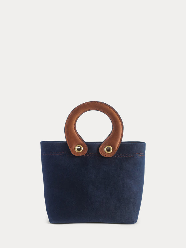 dark blue canvas tote bag