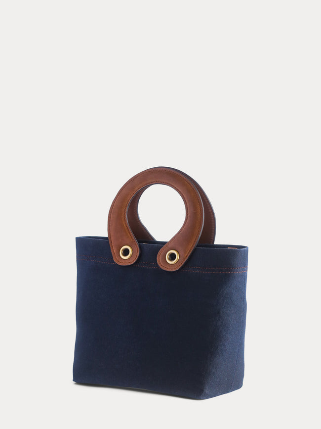 dark blue canvas tote