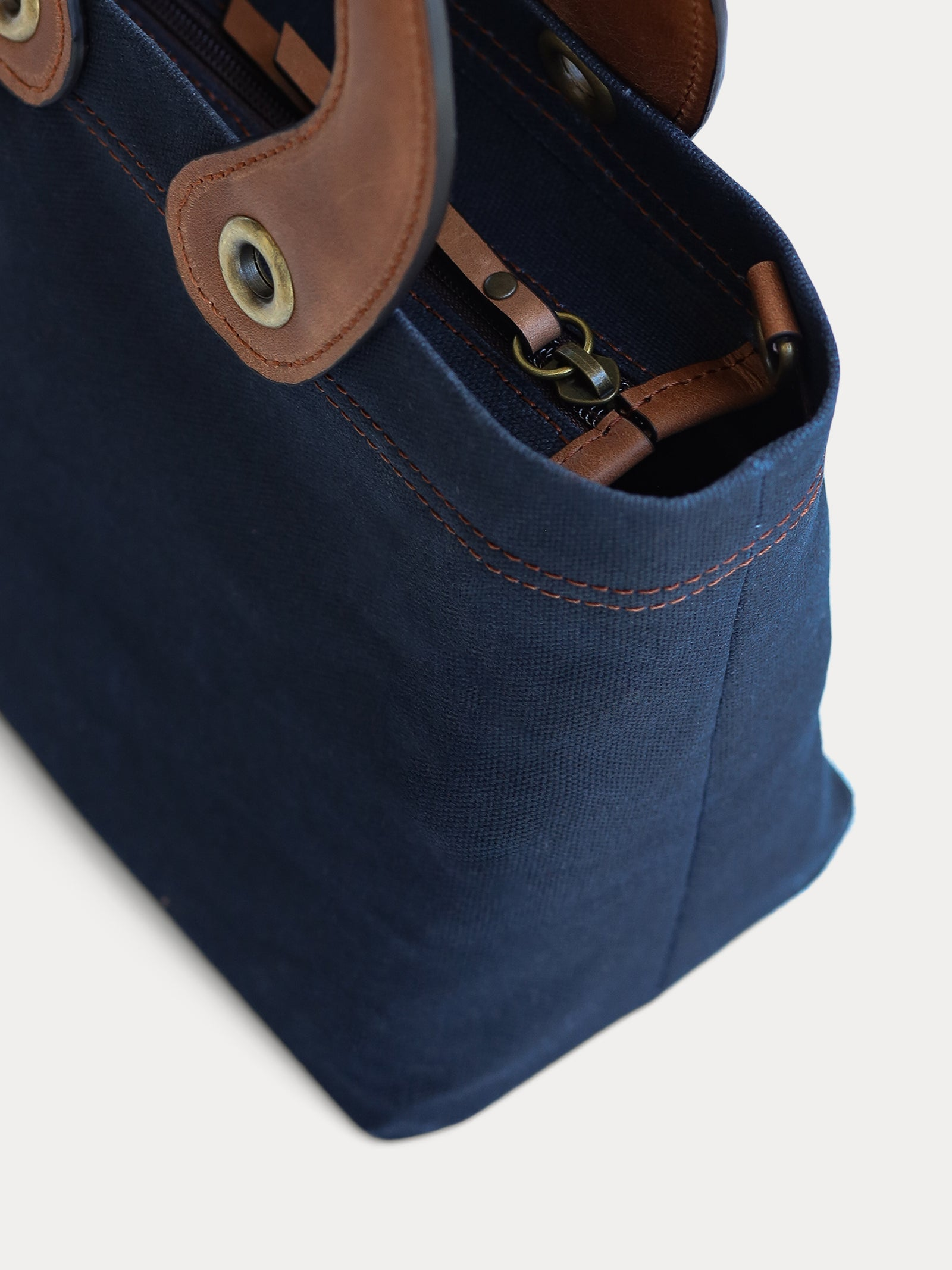 dark blue canvas mini tote bag