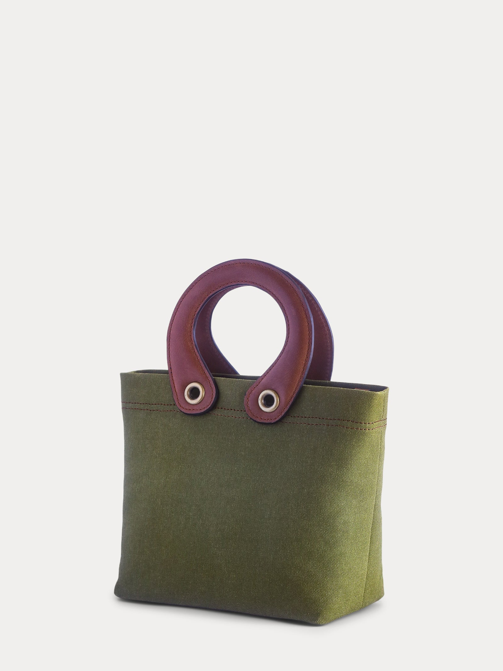 green canvas mini tote
