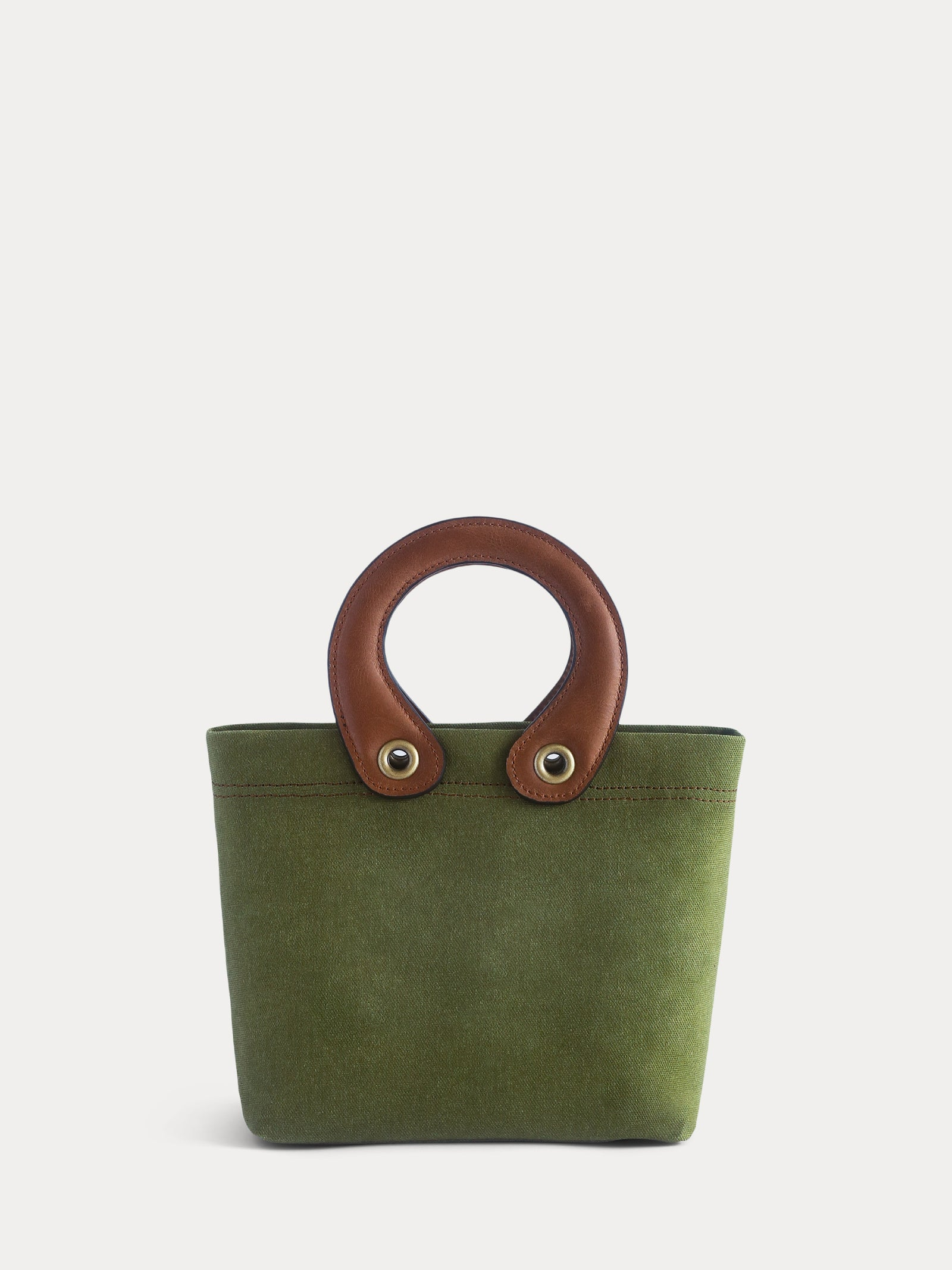 green canvas mini tote bag