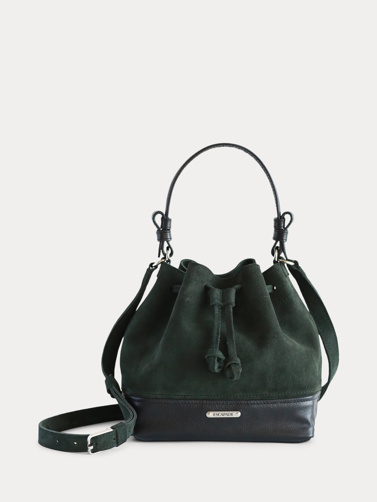 green designer handmade leather bucket bag for women