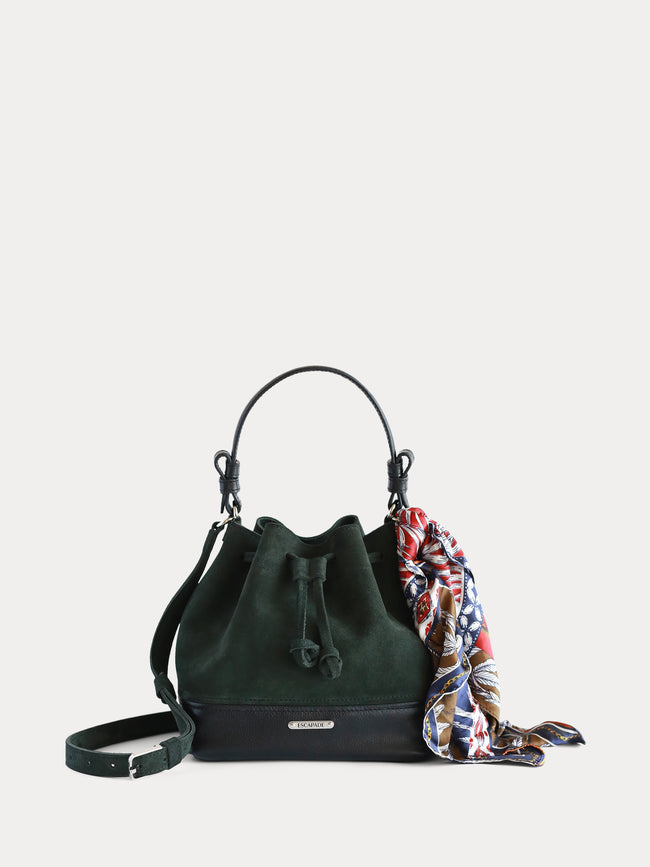 designer green women leather bucket bag