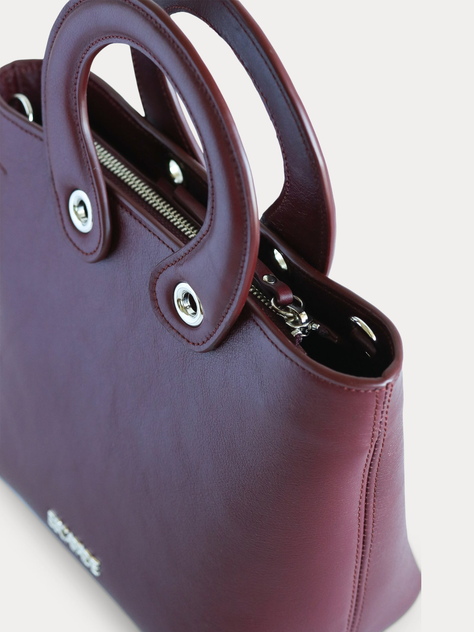 handmade burgundy leather mini tote bag for women