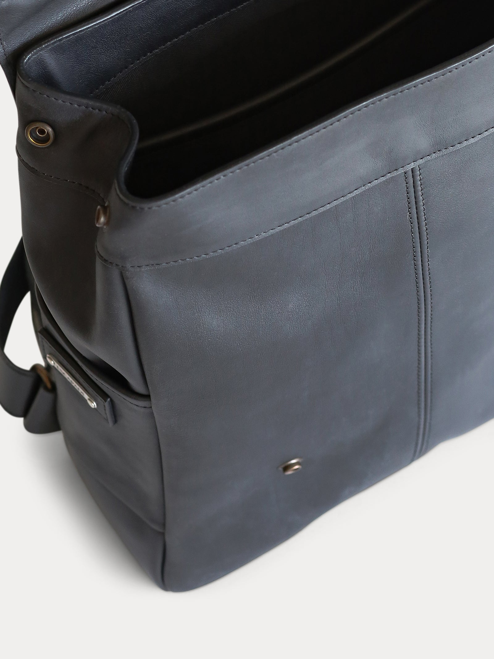 interior black full grain leather backpack