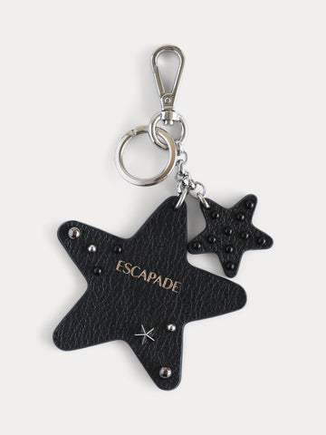 Love Escapade Black Leather Heart Bag Charm / Keychain