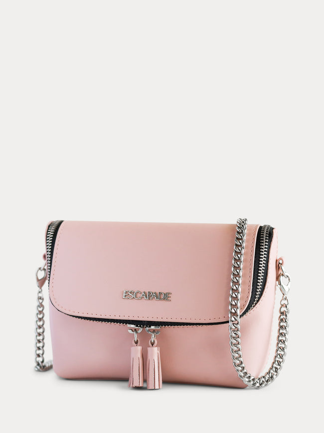 pink belt bag with chain strap