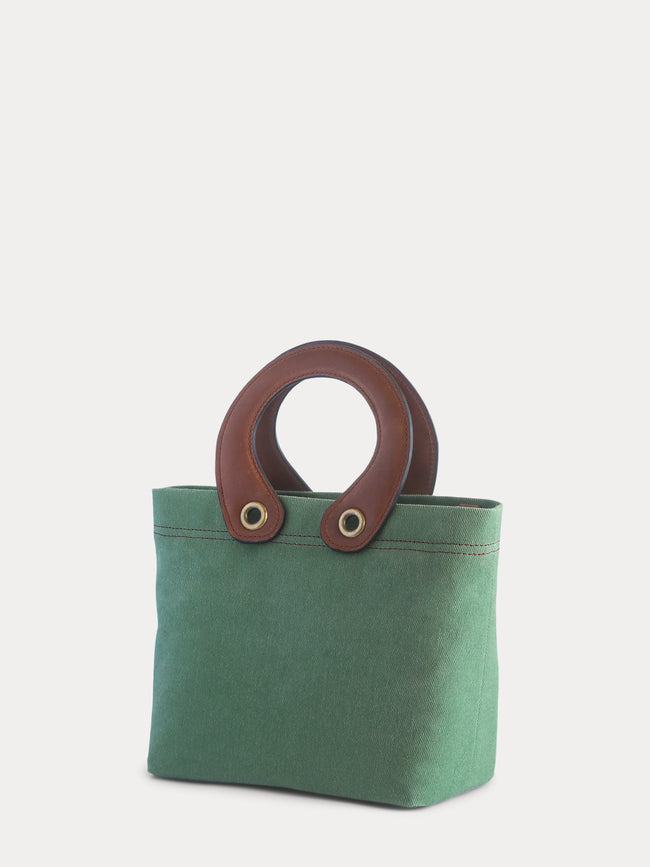light green canvas mini tote bag