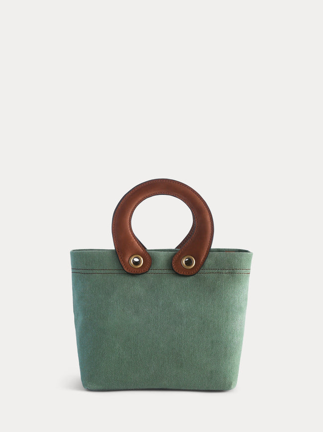 light green canvas mini tote