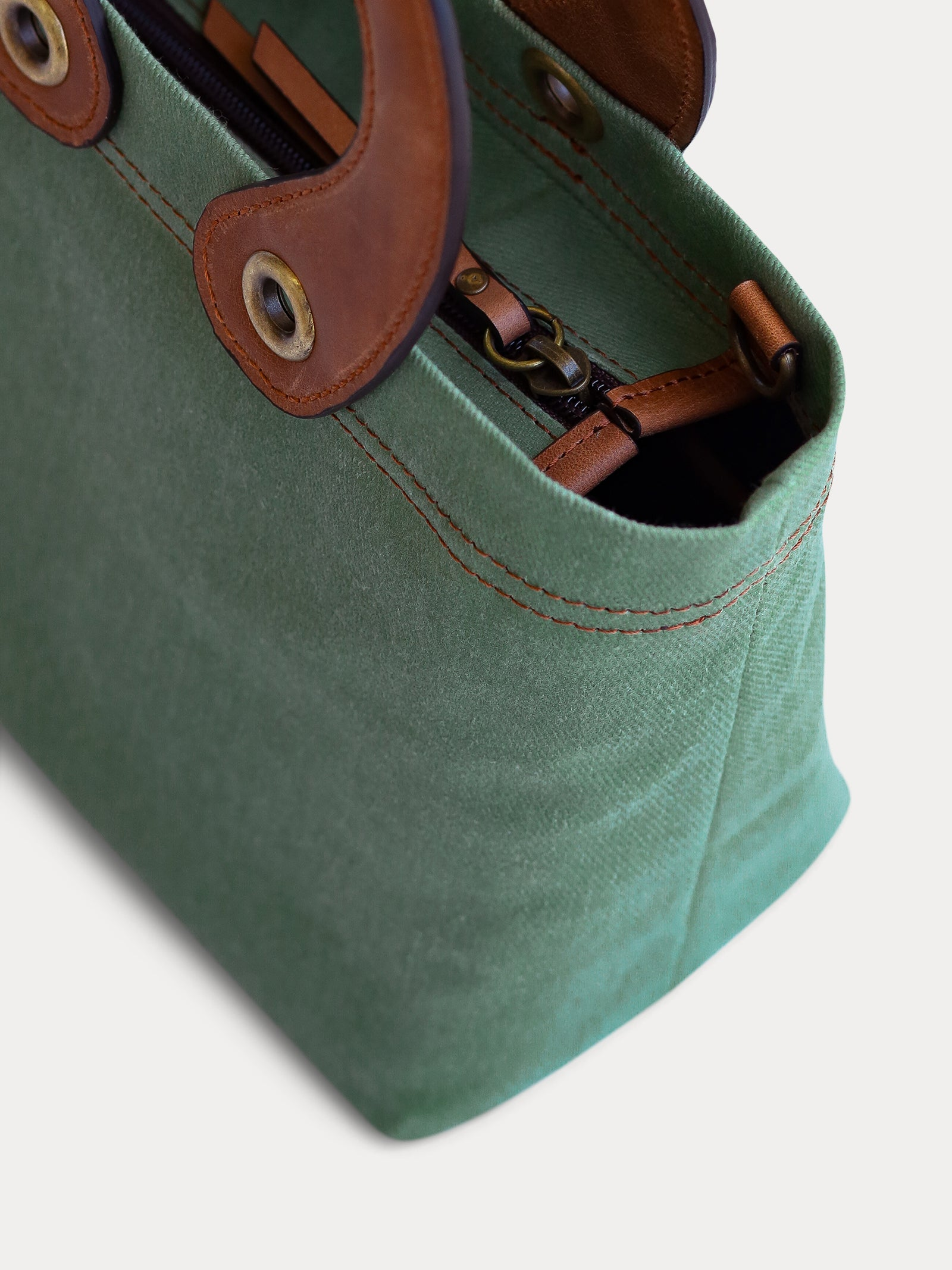 light green canvas tote bag