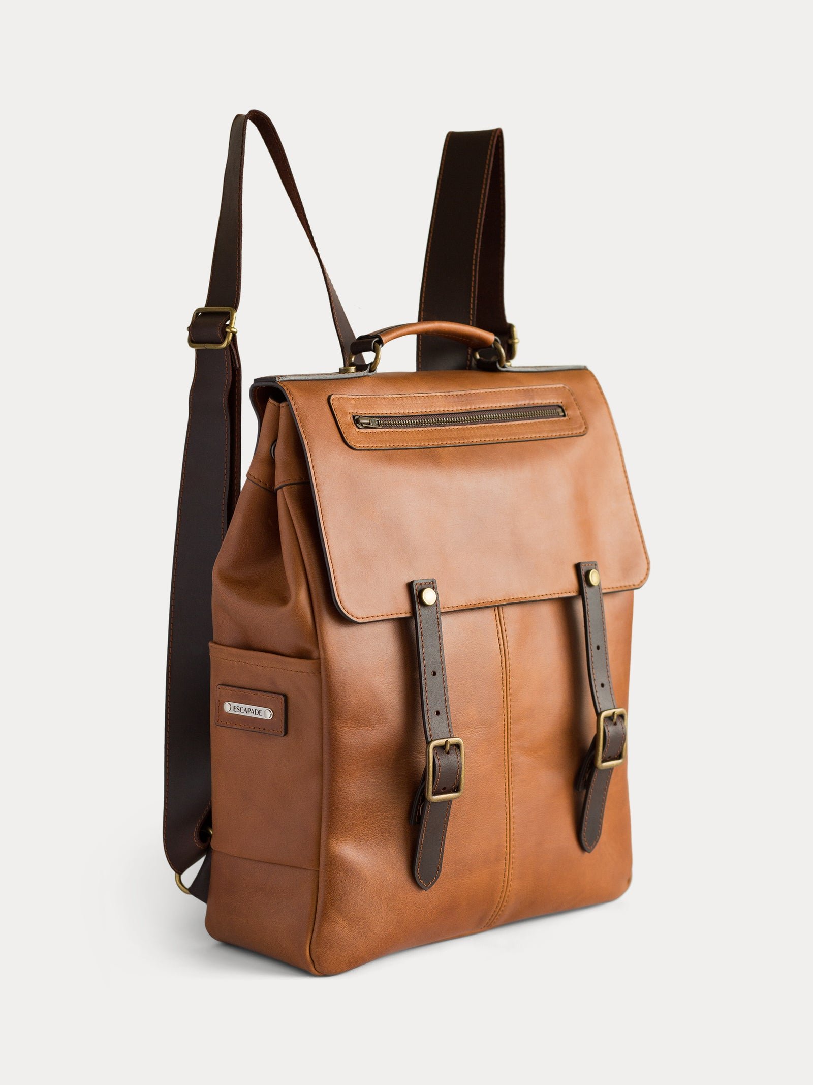 handcrafted camel leather backpack for men