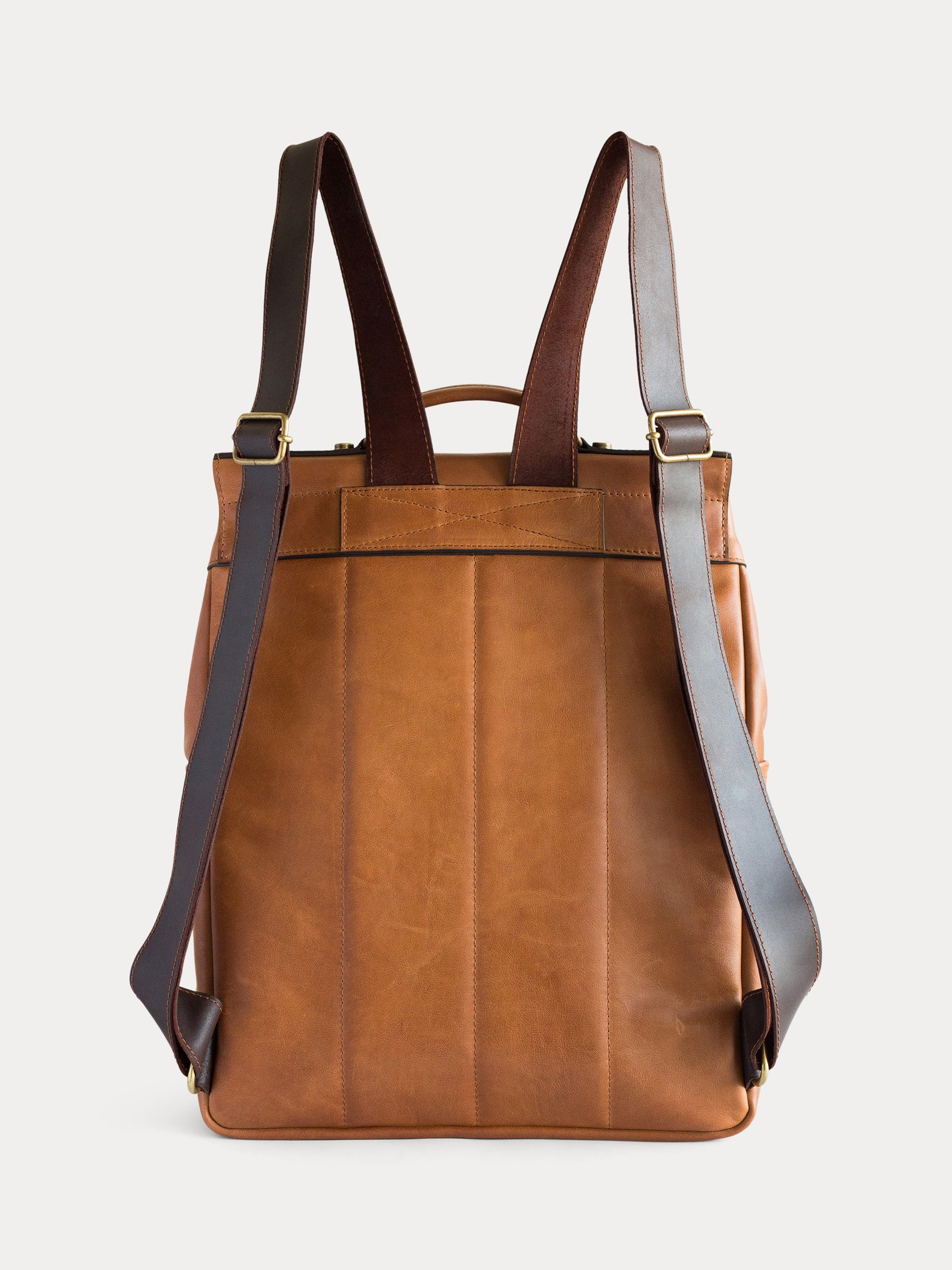 handcrafted brown camel leather backpack
