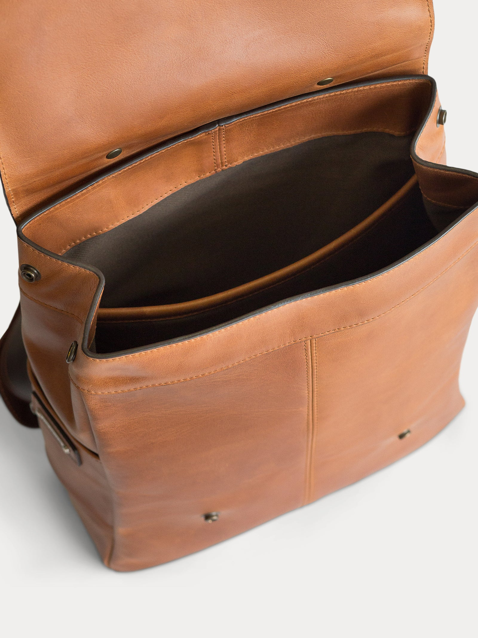 interior lined camel leather backpack