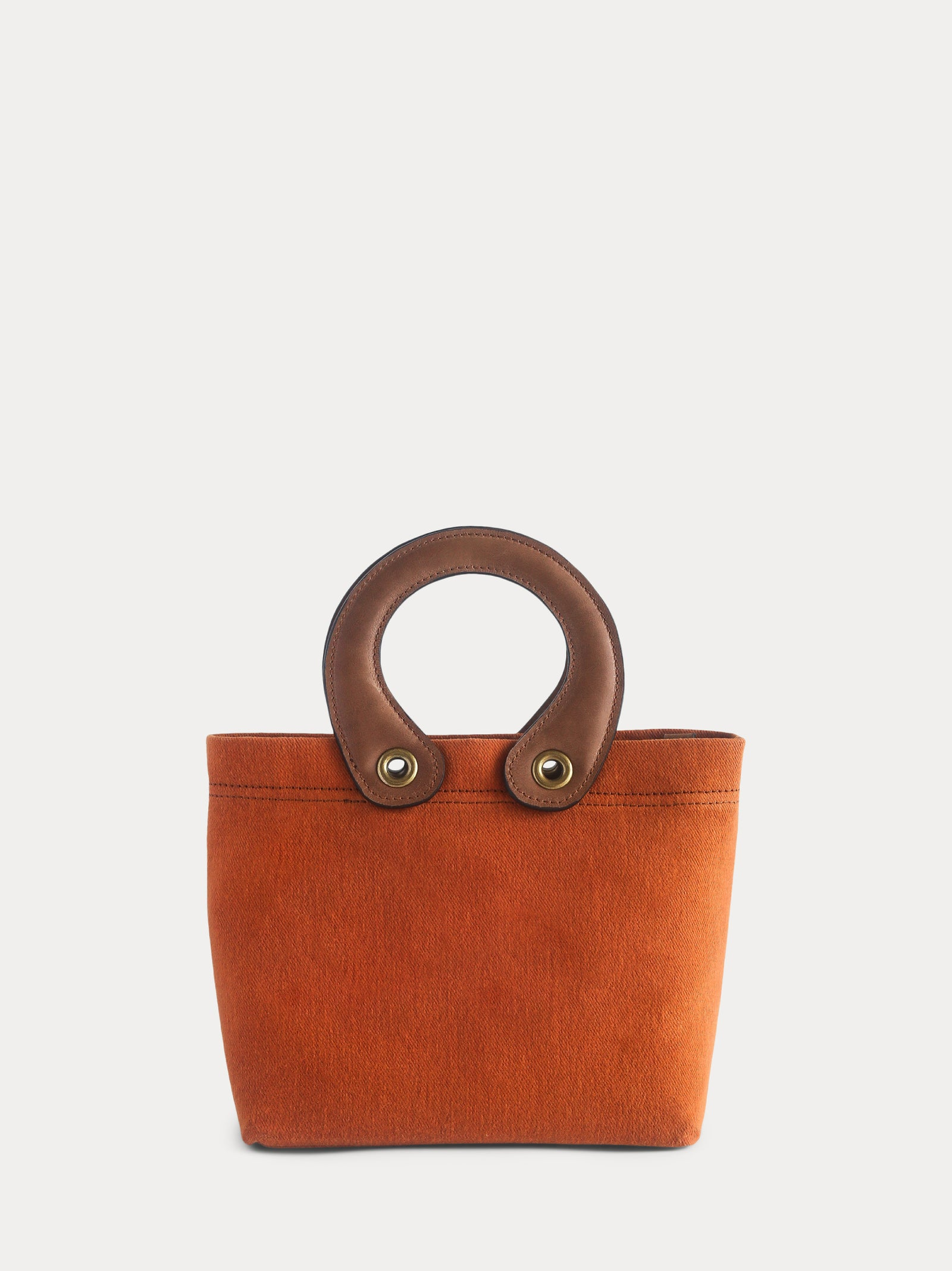 orange canvas mini tote bag