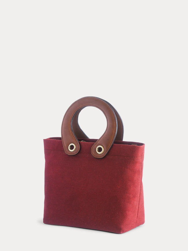 red canvas mini tote