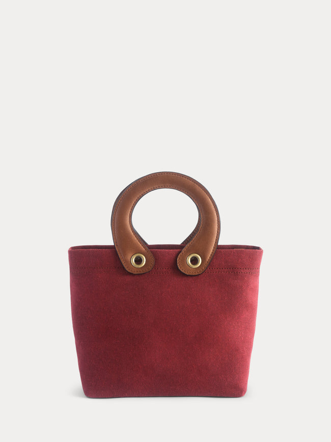 red canvas mini tote bag
