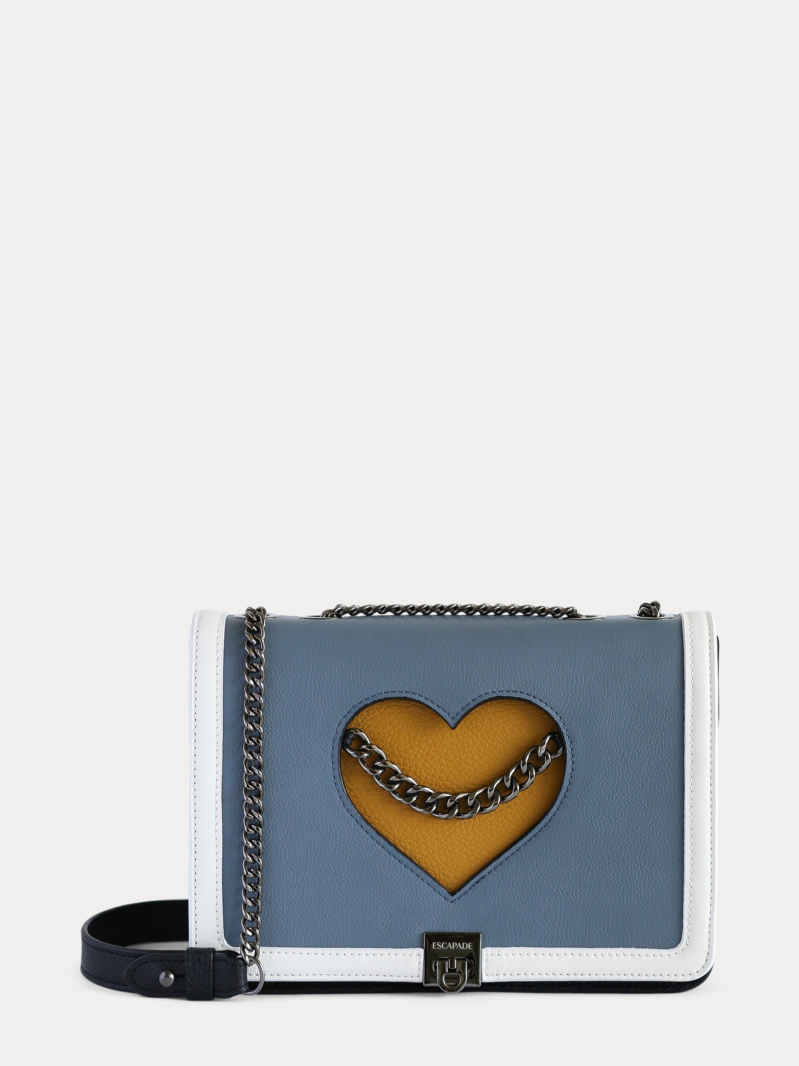 sustainable leather bag for women with blue flap and yellow mustard pocket