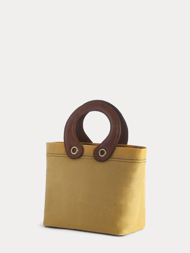 yellow canvas mini tote