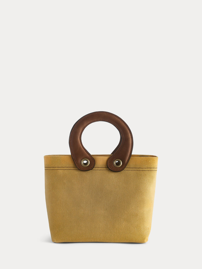 yellow canvas mini tote bag