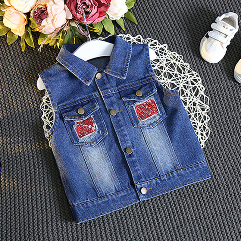 Owl Girls Denim Casual Sleeveless Jacket