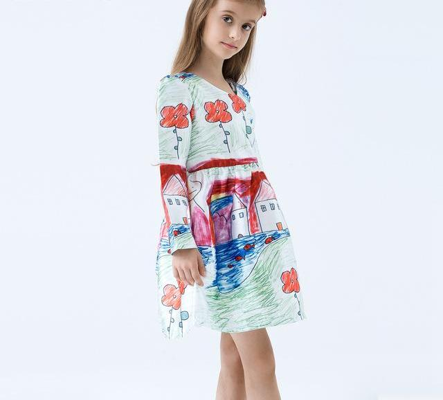 Girls Dress Drawing Clothing