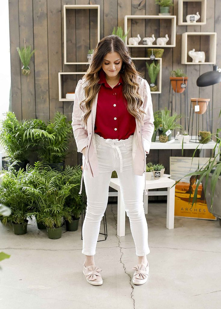 White High Waisted Paper Bag Jeans