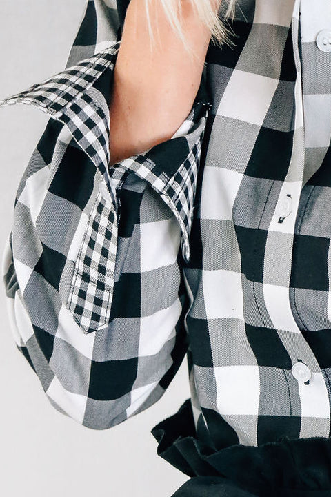 Black and White Checkered Button-up Shirt
