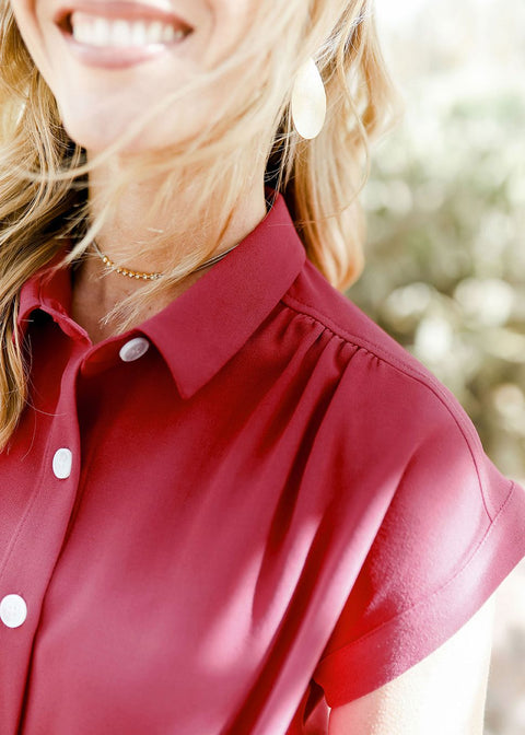 Burgundy Button Up Shirt