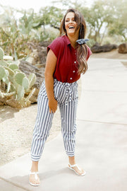 High Waisted Paper Bag Striped Pants