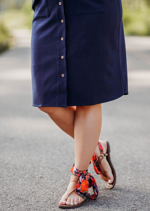 Navy Blue Button Up Dress