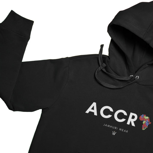 Accra A for Africa All City Premium Hoodie by Jamhuri Wear on lay flat by Jamhuri Wear