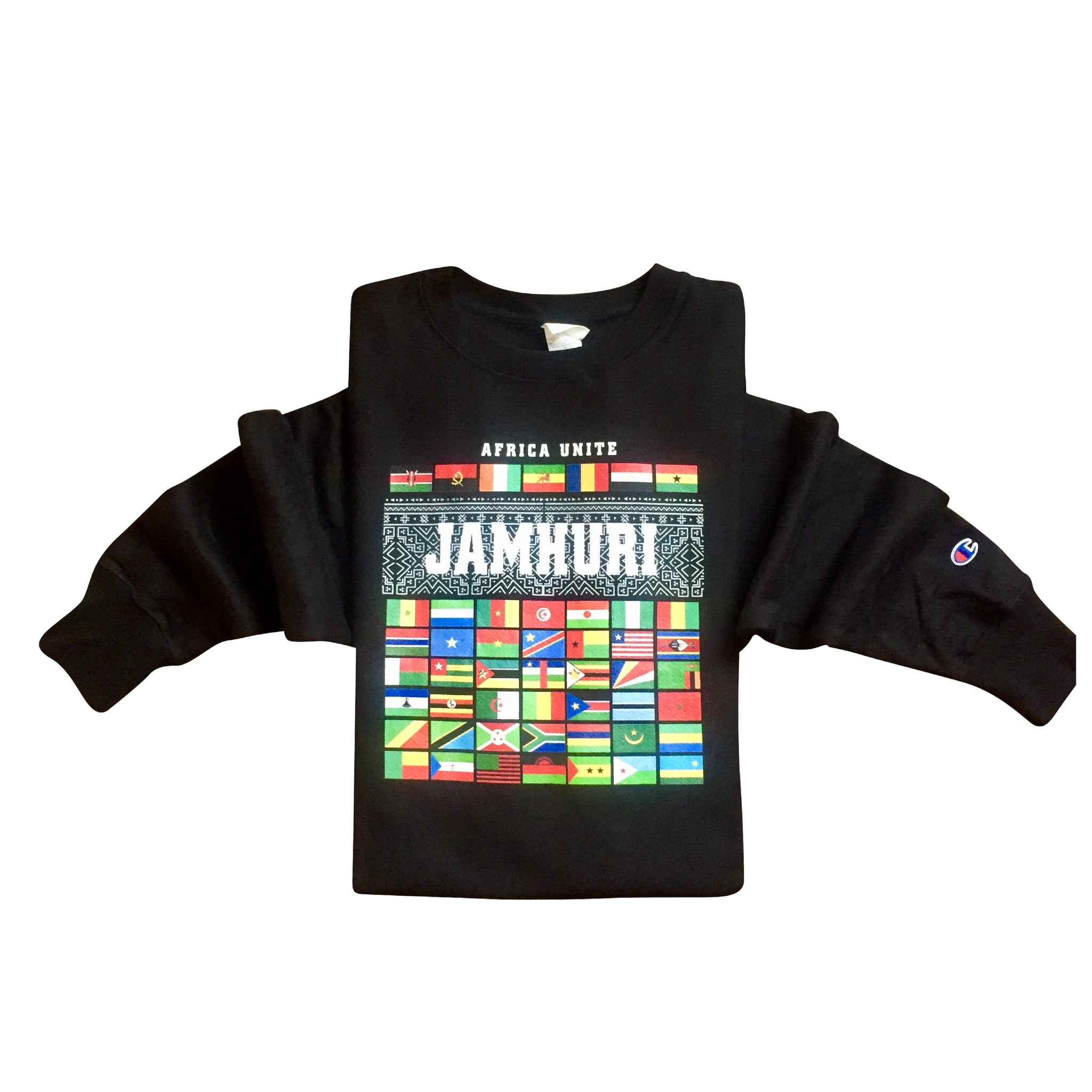 Africa Unite flags Limited Edition Champion Brand Black Crewneck sweater