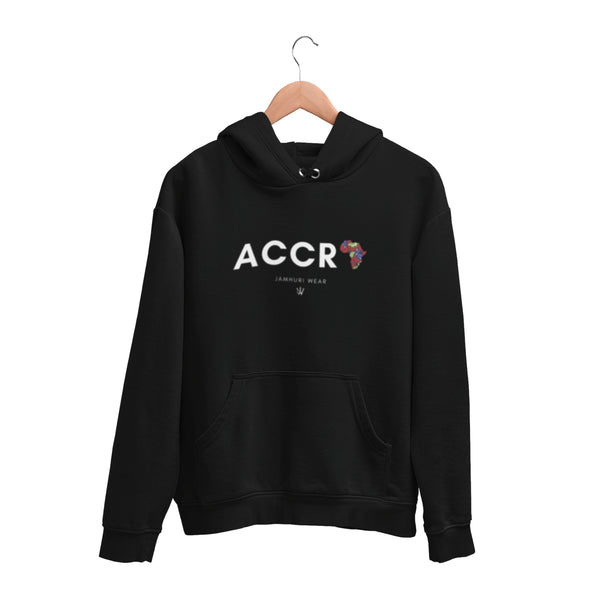 Accra A for Africa All City Premium Hoodie by Jamhuri Wear on wooden Hanger