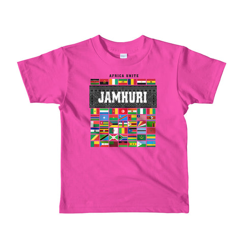 Africa Unite Kids Girls Fushsia T-shirt Jamhuri Wear