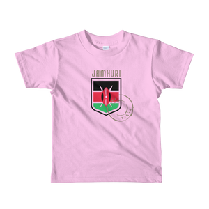 Jamhuri Wear Toto Kids Pink Kenya Badge Girls T-shirt.