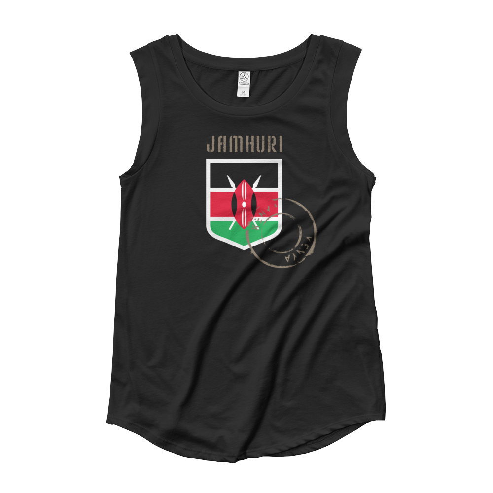 "Kenya ""Badge of honor"" flag emblem women's black T-shirt."