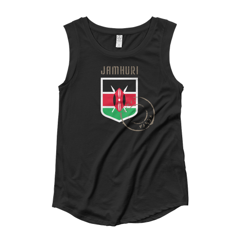 "Jamhuri Wear Kenya ""Badge of honor"" flag emblem women's black T-shirt."