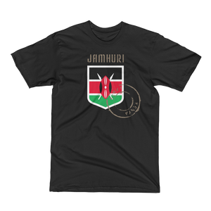 Kenya flag badge of honor black t-shirt by jamhuri wear