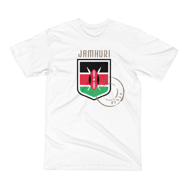 Kenya flag badge of honor white t-shirt