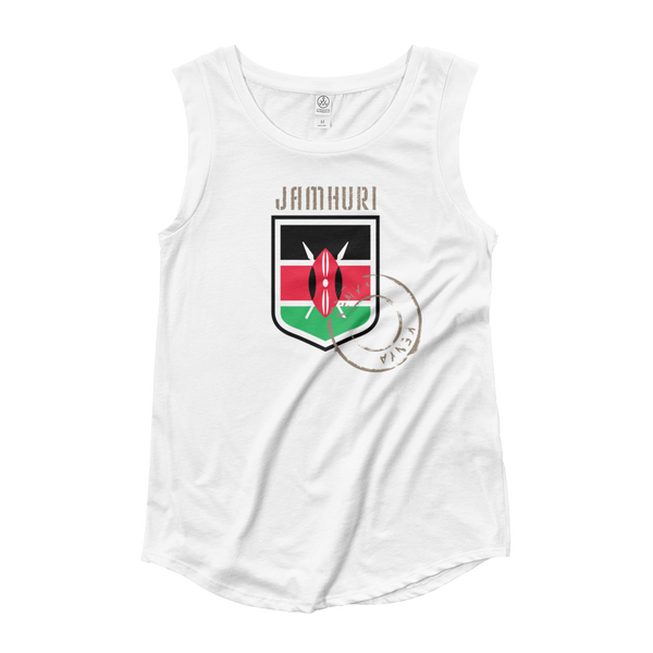 "Kenya ""Badge of honor"" flag emblem women's white T-shirt."