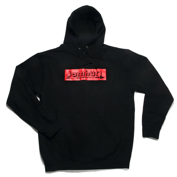 Jamhuri Wear Supremacy Red Box Logo Sweatshirt black Hoodie