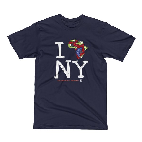 I Africa N.Y New York ANKARA NAVY TSHIRT BY JAMHURI WEAR